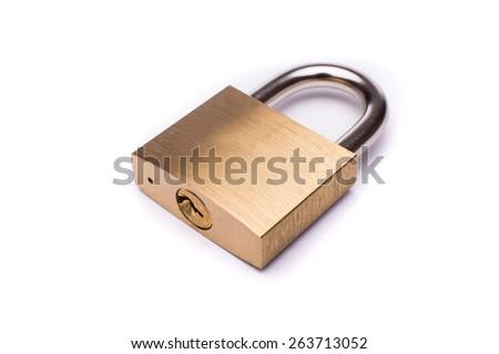 Metal padlock on white background - stock photo