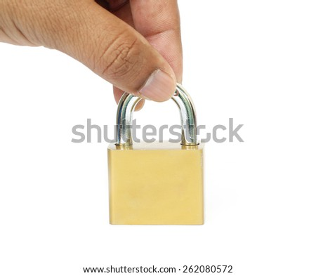 Metal padlock on white background, focus padlock. - stock photo