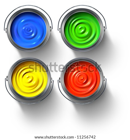 Metal paint cans full of red, green, yellow and blue paint - stock photo