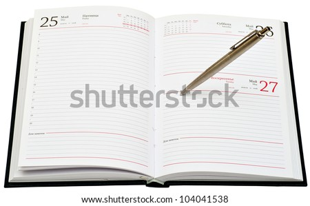 metal pen on opened diary isolated on white background