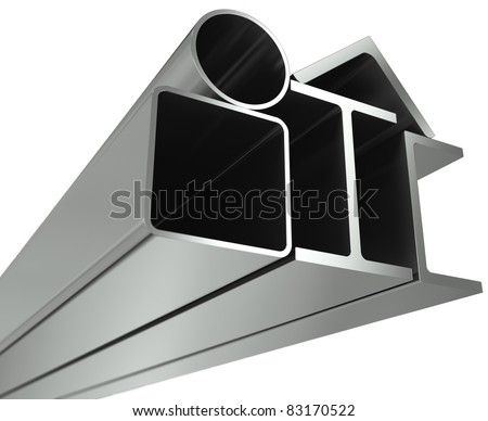 Metal pipe, girders, angles, channels and square tube on a white background - stock photo