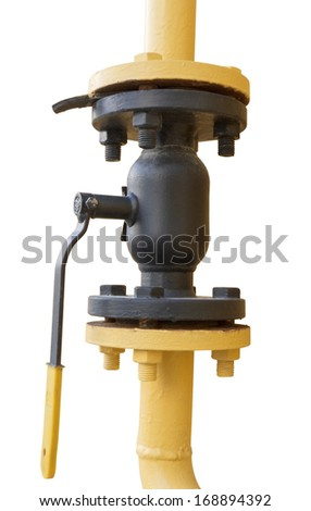 metal pipe with valve on a white background - stock photo