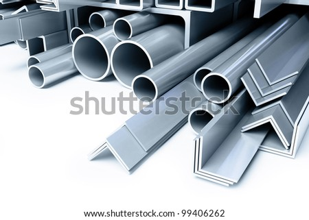 metal pipes, angles squares - stock photo
