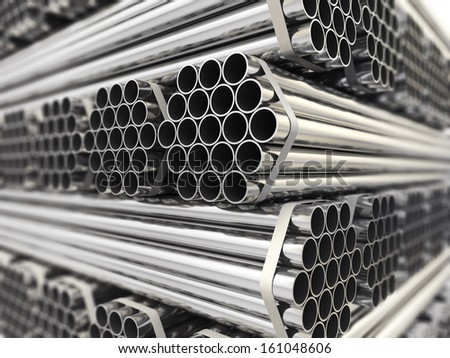 Metal pipes. Steel industry background. Three-dimensional image, - stock photo