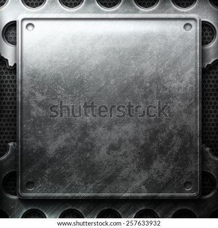 Metal plate on cracked grid. Industrial construction - stock photo