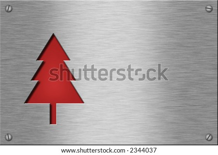 Metal plate series: christmas tree. With room for text. - stock photo