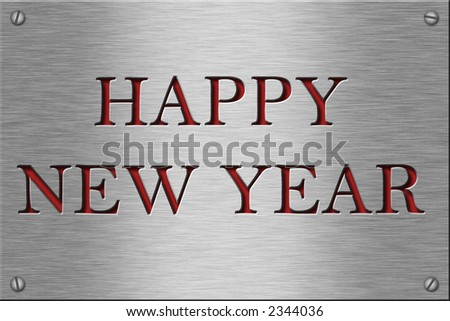 Metal plate series: happy new year. - stock photo