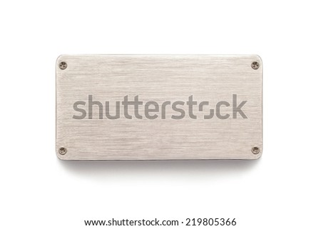 metal plate sign board on white - stock photo