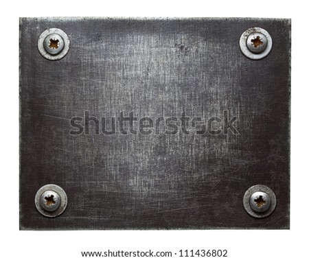 Metal plate texture with screws. - stock photo