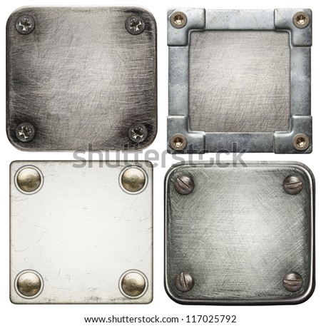 Metal plate textures with screws. - stock photo