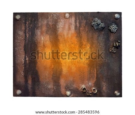 Metal plate with bolts - rusted background for your text. Metal signboard - weathered plaque with cracks and scratches on metal surface, isolated on white background. Old rusty plaque on door-plate. - stock photo