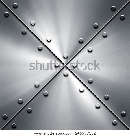 metal plate with tack pattern - stock photo