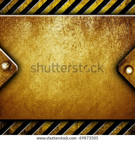 metal plate with warning stripe - stock photo