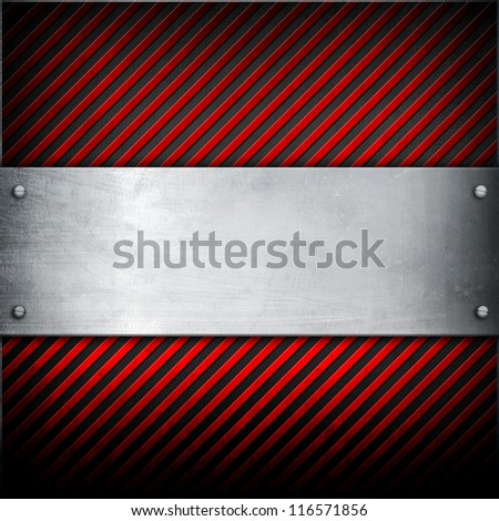 metal plate with warning stripes - stock photo