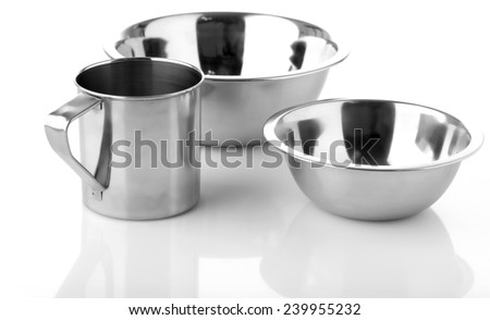 Metal plates and cup isolated on white