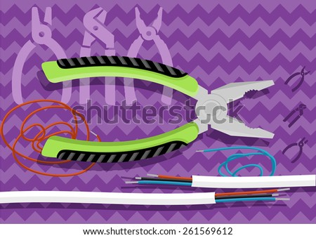 Metal pliers with tangled blue red electric cable, pliers cut the cable. Electrician peeling off insulation from wires and pliers. Flat icon modern design style concept. Raster version - stock photo