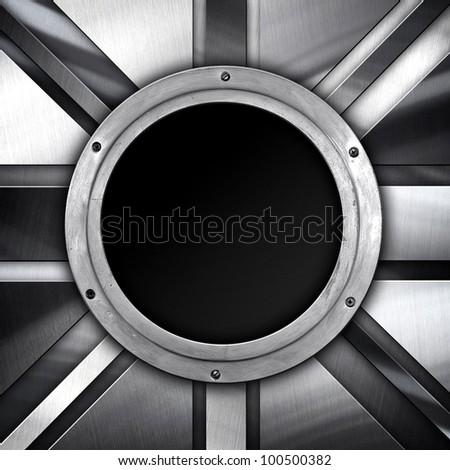 metal porthole - stock photo