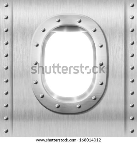 metal porthole or window background - stock photo