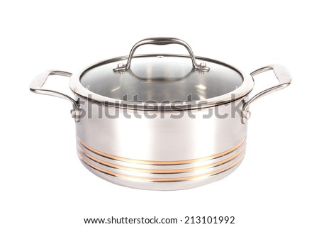 metal pot with lid on white background - stock photo