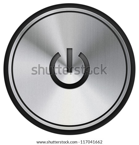 Metal power button with the on - off icon embossed in the switch. Isolated object on white background - stock photo
