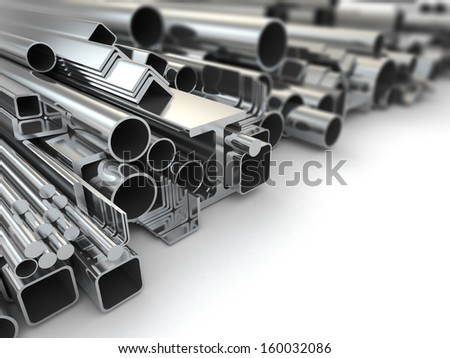 Metal profile and pipes on white background. 3d - stock photo