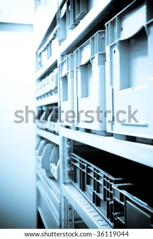 Metal Rack With Plastic Boxes. Blue Series