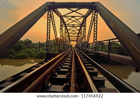 Metal rail road bridge - stock photo