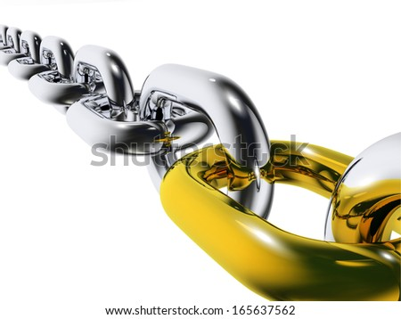 Metal realistic chain with gold grain on white background. 3d render - stock photo