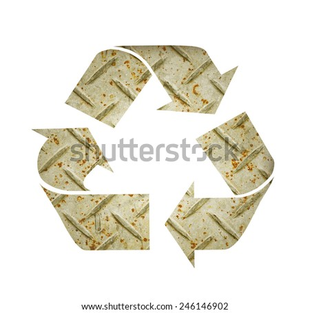 Metal recycle sign - stock photo
