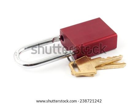 Metal red colour padlocks with keys - stock photo