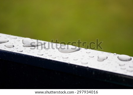 Metal reflexive surface with big rain droplets