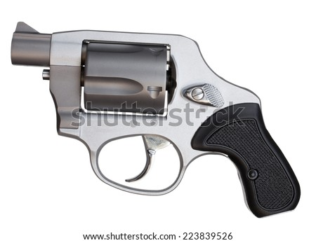 Metal revolver with a short barrel isolated on white - stock photo