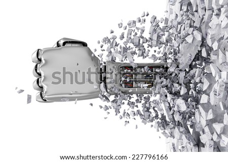 Metal Robotic Hand Breaking Through From Concrete Wall. Abstract 3D Illustration isolated on white background - stock photo