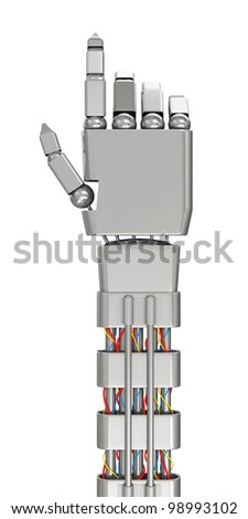 Metal Robotic Hand Touching Something isolated on white background - stock photo