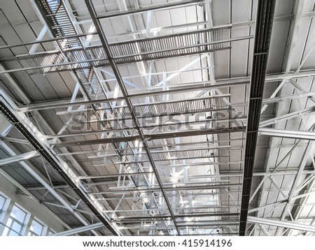 metal roof structure of modern industrial building background