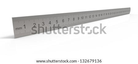 Metal ruler on the reflective surface