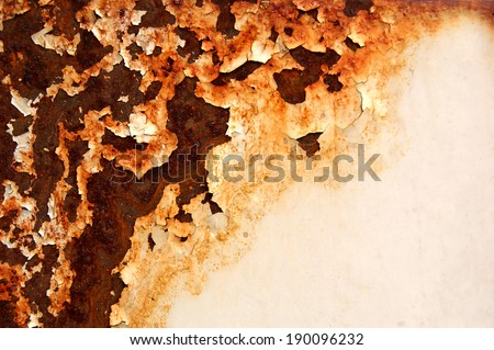 metal rust background, white metal plate with half rusty part. Rusted white painted metal wall. Metal texture with white paint and rust. Damaged paint on the metal surface  - stock photo