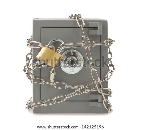 Metal safe with chain and padlock - stock photo