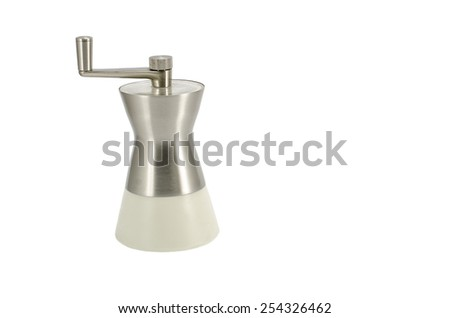 Metal saltshaker with handle isolated on white