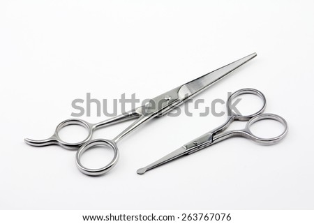 Metal scissors isolated on white background