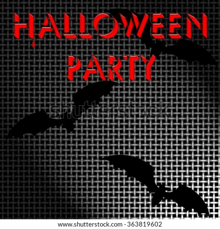 metal screen Halloween poster with black bats illustration - stock photo