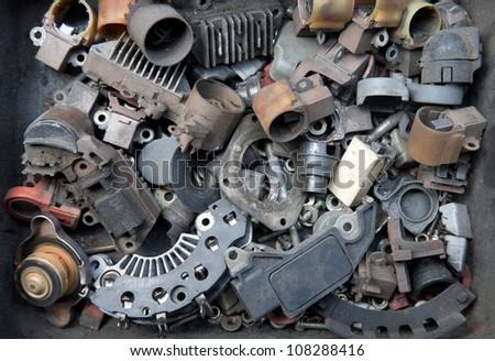 Metal screw heads /car used tools - stock photo