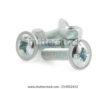 metal screws and nut tool on white background