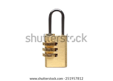 Metal security lock with password on isolated background - stock photo