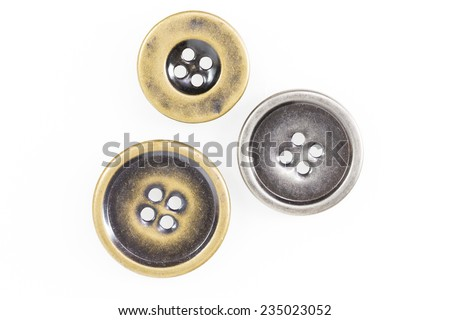 Metal sewing buttons collection isolate on white background - stock photo