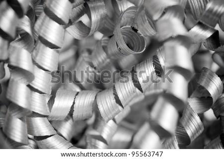 Metal shaving closeup photo - stock photo