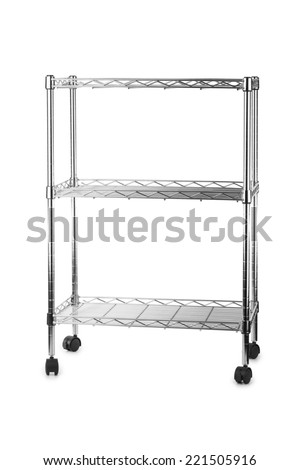 Metal shelves rack isolated on white background - stock photo