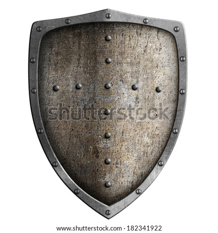metal shield isolated on white - stock photo
