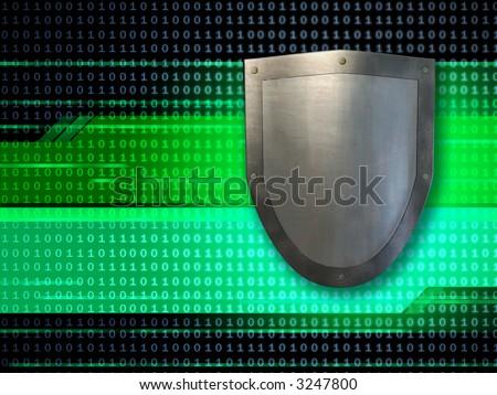 Metal shield protecting data streams. Digital illustration. - stock photo