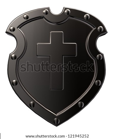 metal shield with christian cross  on white background - 3d illustration - stock photo